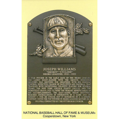 Smokey Joe Williams Baseball Hall of Fame Plaque Postcard