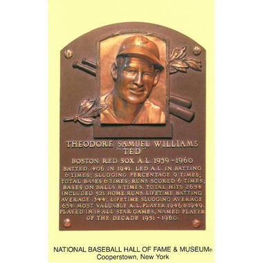Ted Williams Baseball Hall of Fame Plaque Postcard