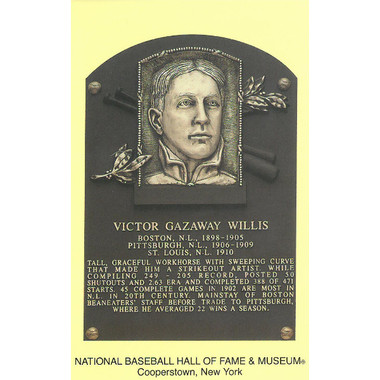 Vic Willis Baseball Hall of Fame Plaque Postcard
