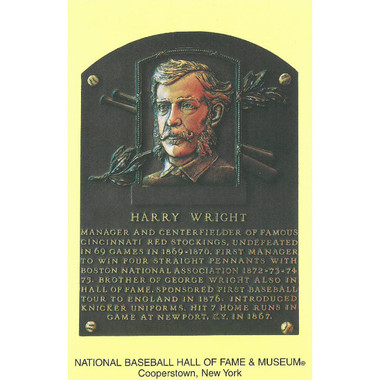 Harry Wright Baseball Hall of Fame Plaque Postcard