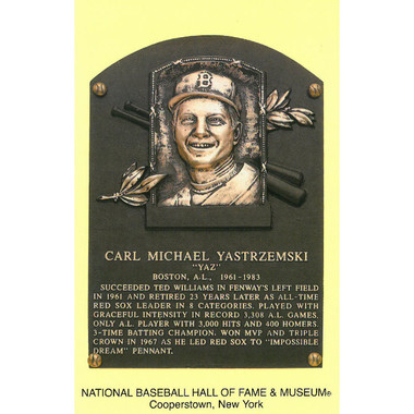 Carl Yastrzemski Baseball Hall of Fame Plaque Postcard