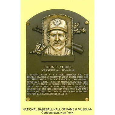 Robin Yount Baseball Hall of Fame Plaque Postcard