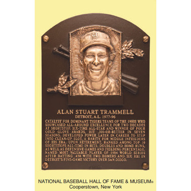 Alan Trammell Baseball Hall of Fame Plaque Postcard