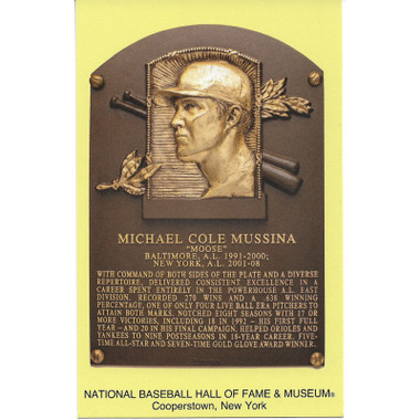 Mike Mussina Baseball Hall of Fame Plaque Postcard