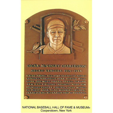 Oscar Charleston Baseball Hall of Fame Plaque Postcard
