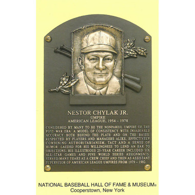 Nestor Chylak Baseball Hall of Fame Plaque Postcard