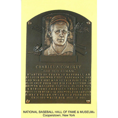 Charles Comiskey Baseball Hall of Fame Plaque Postcard