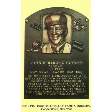 Jocko Conlan Baseball Hall of Fame Plaque Postcard
