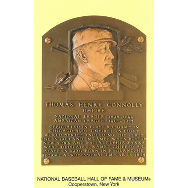 Tom Connolly Baseball Hall of Fame Plaque Postcard