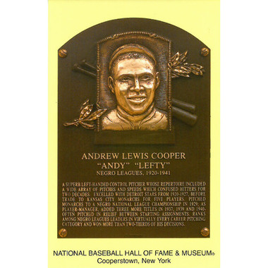 Andy Cooper Baseball Hall of Fame Plaque Postcard