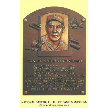Stan Coveleski Baseball Hall of Fame Plaque Postcard