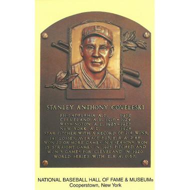 Stan Coveleski Baseball Hall of Fame Plaque Postcard