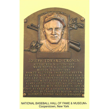 Joe Cronin Baseball Hall of Fame Plaque Postcard