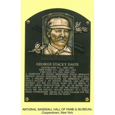 George Davis Baseball Hall of Fame Plaque Postcard