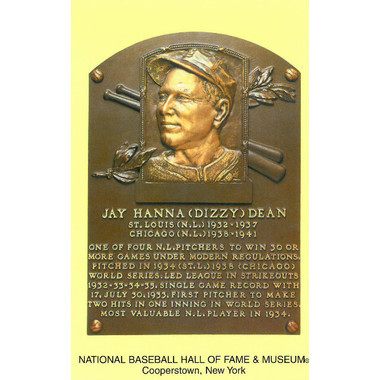Dizzy Dean Baseball Hall of Fame Plaque Postcard