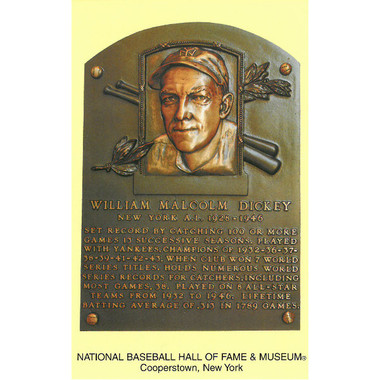 Bill Dickey Baseball Hall of Fame Plaque Postcard