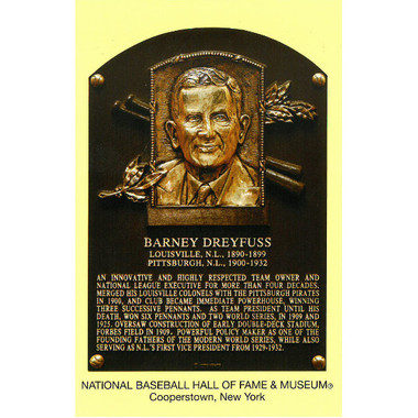Barney Dreyfuss Baseball Hall of Fame Plaque Postcard