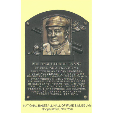 Billy Evans Baseball Hall of Fame Plaque Postcard