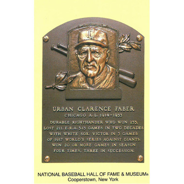 Red Faber Baseball Hall of Fame Plaque Postcard