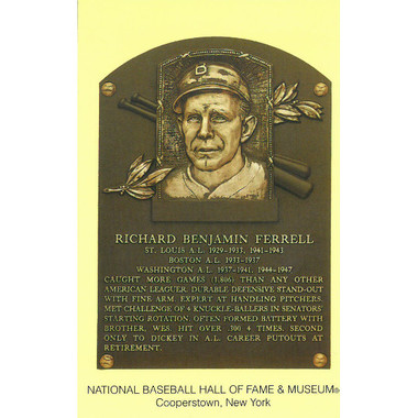 Rick Ferrell Baseball Hall of Fame Plaque Postcard