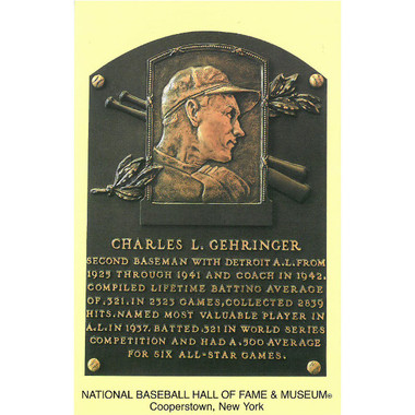 Charlie Gehringer Baseball Hall of Fame Plaque Postcard
