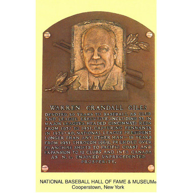 Warren C. Giles Baseball Hall of Fame Plaque Postcard