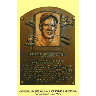 Lefty Gomez Baseball Hall of Fame Plaque Postcard