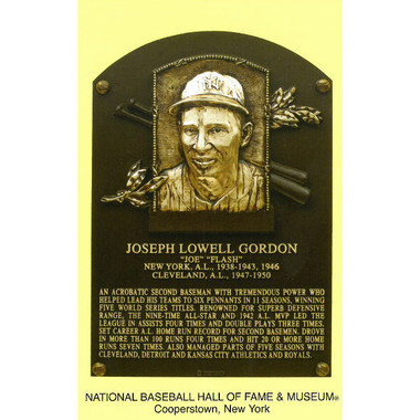 Joe Gordon Baseball Hall of Fame Plaque Postcard