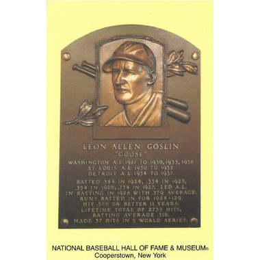 Goose Goslin Baseball Hall of Fame Plaque Postcard