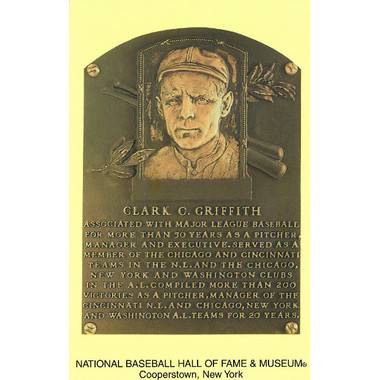 Clark Griffith Baseball Hall of Fame Plaque Postcard