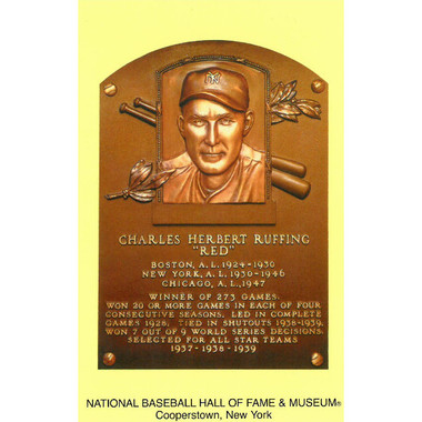 Red Ruffing Baseball Hall of Fame Plaque Postcard