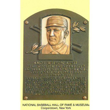 Amos Rusie Baseball Hall of Fame Plaque Postcard