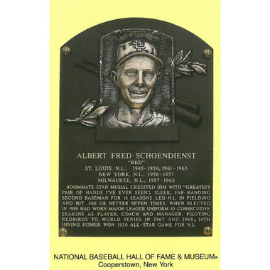 Red Schoendienst Baseball Hall of Fame Plaque Postcard