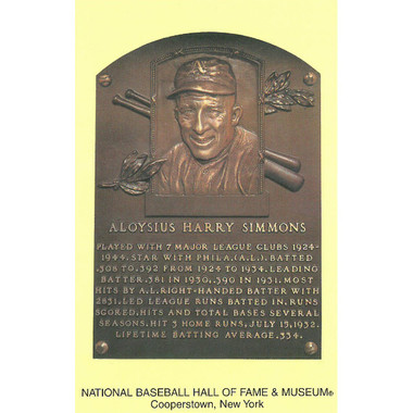 Al Simmons Baseball Hall of Fame Plaque Postcard