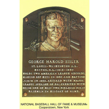 George Sisler Baseball Hall of Fame Plaque Postcard