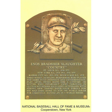 Enos Slaughter Baseball Hall of Fame Plaque Postcard