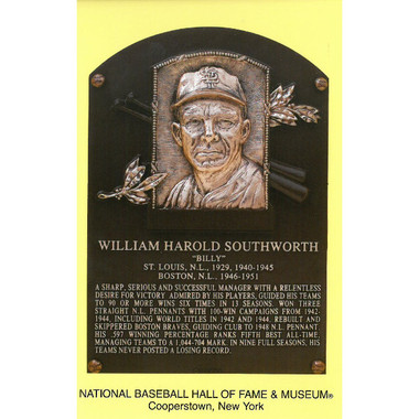 Billy Southworth Baseball Hall of Fame Plaque Postcard