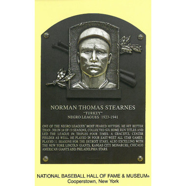 Turkey Stearnes Baseball Hall of Fame Plaque Postcard