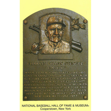 Casey Stengel Baseball Hall of Fame Plaque Postcard