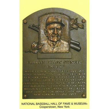 Casey Stengel Baseball Hall of Fame Plaque Postcard