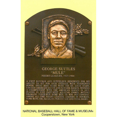 Mule Suttles Baseball Hall of Fame Plaque Postcard