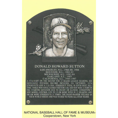 Don Sutton Baseball Hall of Fame Plaque Postcard