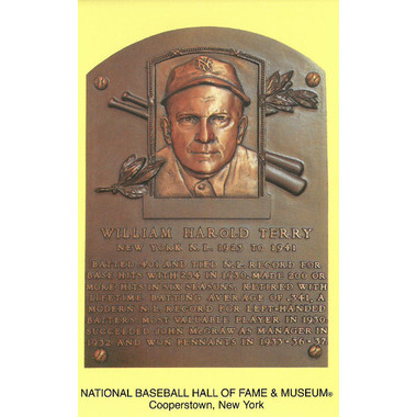 Bill Terry Baseball Hall of Fame Plaque Postcard