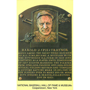 Pie Traynor Baseball Hall of Fame Plaque Postcard
