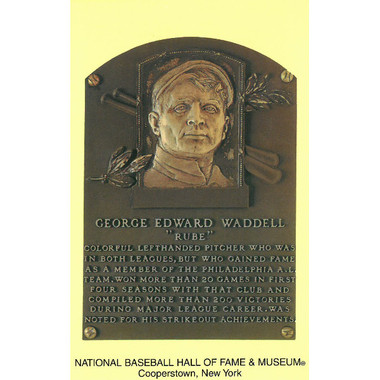 Rube Waddell Baseball Hall of Fame Plaque Postcard