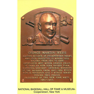 George Weiss Baseball Hall of Fame Plaque Postcard