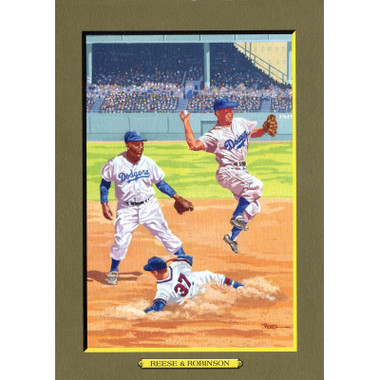 Pee Wee Reese and Jackie Robinson Perez-Steele Hall of Fame Great Moments Limited Edition Jumbo Postcard # 91