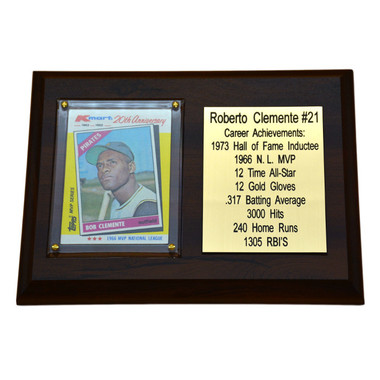 "Roberto Clemente Pittsburgh Pirates 8"" x 6"" Baseball Card Deluxe Plaque"