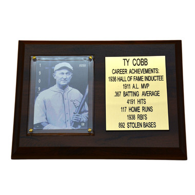 "Ty Cobb Detroit Tigers 8"" x 6"" Baseball Card Deluxe Plaque"