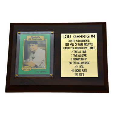 "Lou Gehrig New York Yankees 8"" x 6"" Baseball Card Deluxe Plaque"